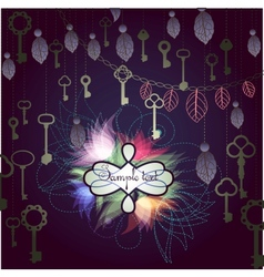 Mystic background with hanging keys and floral vector