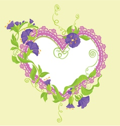 Convolvulus flowers bouquet and lace heart vector