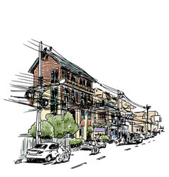 buildings on street sketchbook at thailand vector image