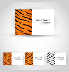 wild animals business card set vector image