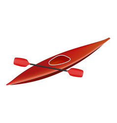 canoe in red design with paddle vector image