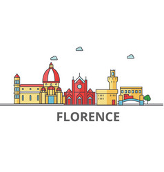 Florence city skyline buildings streets vector