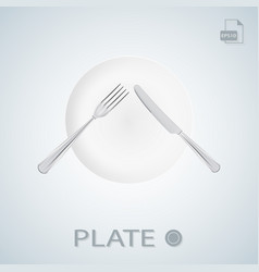 Plate with fork and knife crossed isolated on a vector