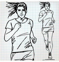 female runner sketch vector image