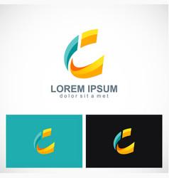 3d letter c technology logo vector image