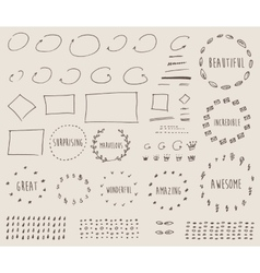 Doodles border arrow crown decor elements vector