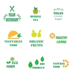 Set of logos for organic and natural food vector