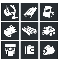 Metallurgy industry icons set vector