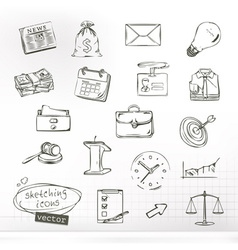Business sketches of icons set vector image
