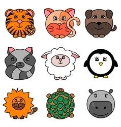 Cute cartoon circle animals collection vector image