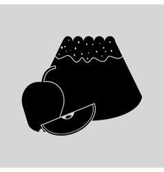 Flat in black and white bun with apple vector image