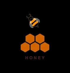 Label for products with bee and honeycomb vector