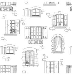 Vintage windows seamless pattern vector image