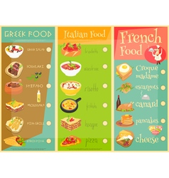 European cuisine menu set vector