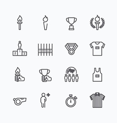 Sport icons flat line design vector