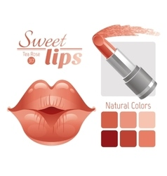 Sexy kissing woman lips with natural beige vector