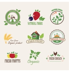 Stickers for organic products vector