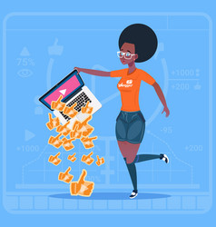 African american girl hold laptop with thumb up vector