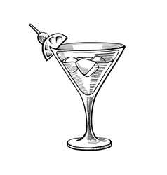 alcoholic cocktail hand drawn vector image