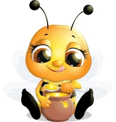 Beautiful bee that eats honey vector