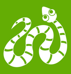 black striped snake icon green vector image vector image