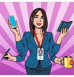 Businesswoman works hard vector