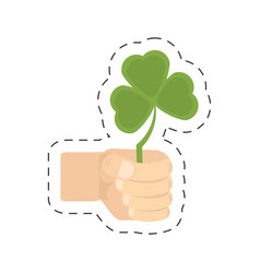 Cartoon hand holding shamrock st patricks day vector