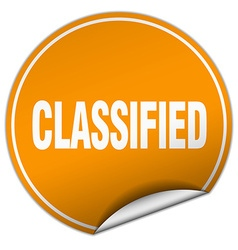 Classified round orange sticker isolated on white vector