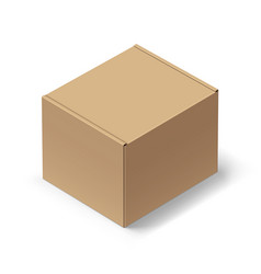 Close up carton box with shadow on white vector
