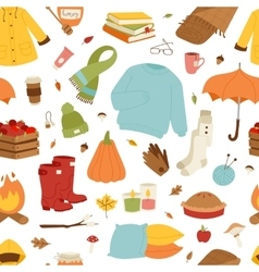 Collection of autumn items vector image vector image