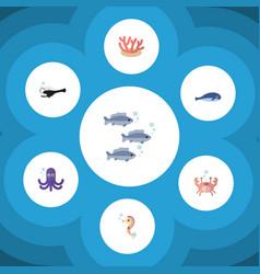 Flat icon marine set of cachalot fish algae and vector