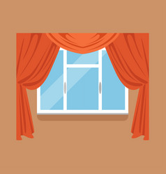 Flat window with red curtains on brown wall vector