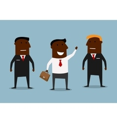 Happy businessman and confident bodyguards vector