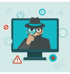 Internet security and spayware warning vector image vector image