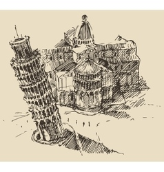 Leaning tower pisa cathedral italy vintage sketch vector