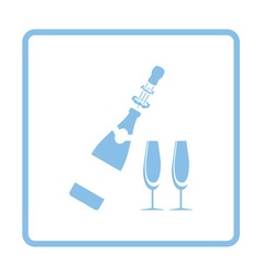 Party champagne and glass icon vector image vector image
