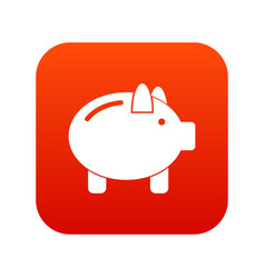 Piggy bank icon digital red vector