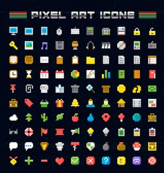 Pixel Art Icons vector image vector image