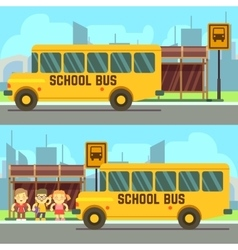 School pupils waiting for schoolbus vector