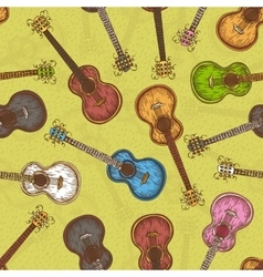 Seamless Pattern with Colorful Acoustic Guitar vector image