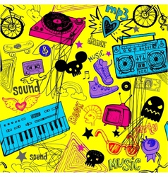 Seamless yellow music background vector image
