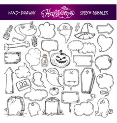 Set of halloween speech bubbles vector