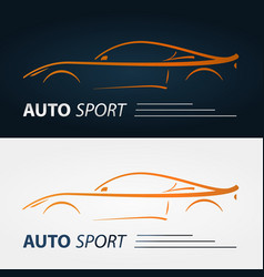 Set of modern car emblems sports car silhouette vector