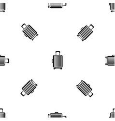 suitcase on wheels pattern seamless black vector image