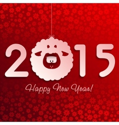 Symbol of New Years lamb on red with snowflakes vector image vector image