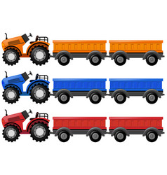 Tractors and wagon carts vector