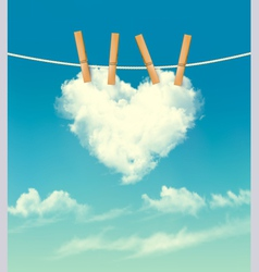 Valentine background with a heart shaped cloud vector