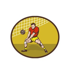 Volleyball player about to strike ball vector image vector image