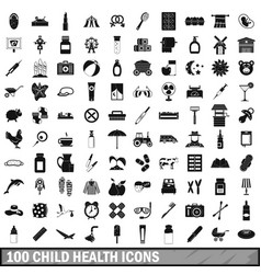 100 child health icons set simple style vector