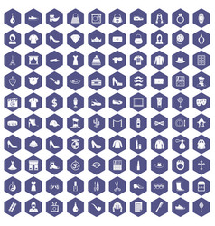 100 stylist icons hexagon purple vector